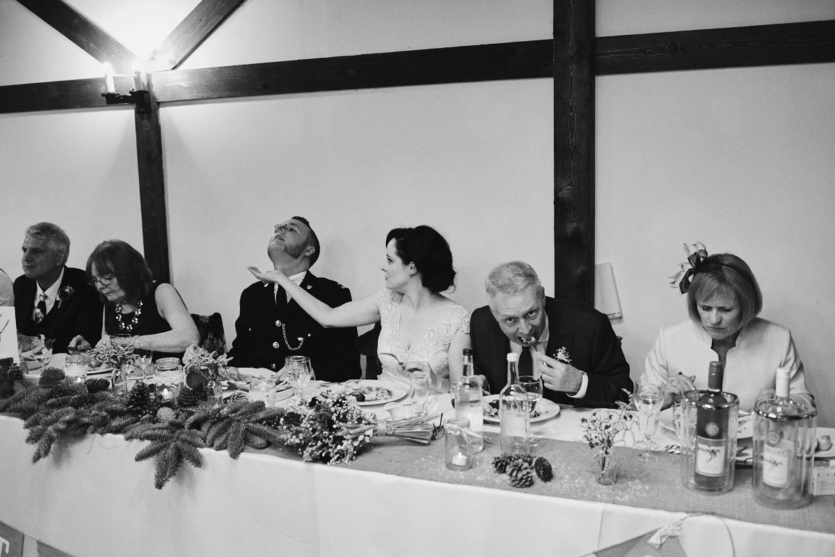 Funny wedding photo of a wedding top table at Blackstock Country Estate
