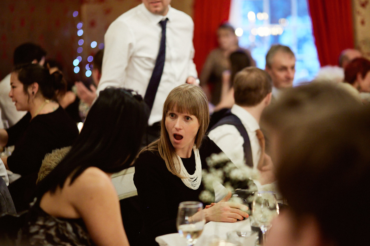 Funny wedding photo of a shocked guest at The Bell pub in Ticehurst