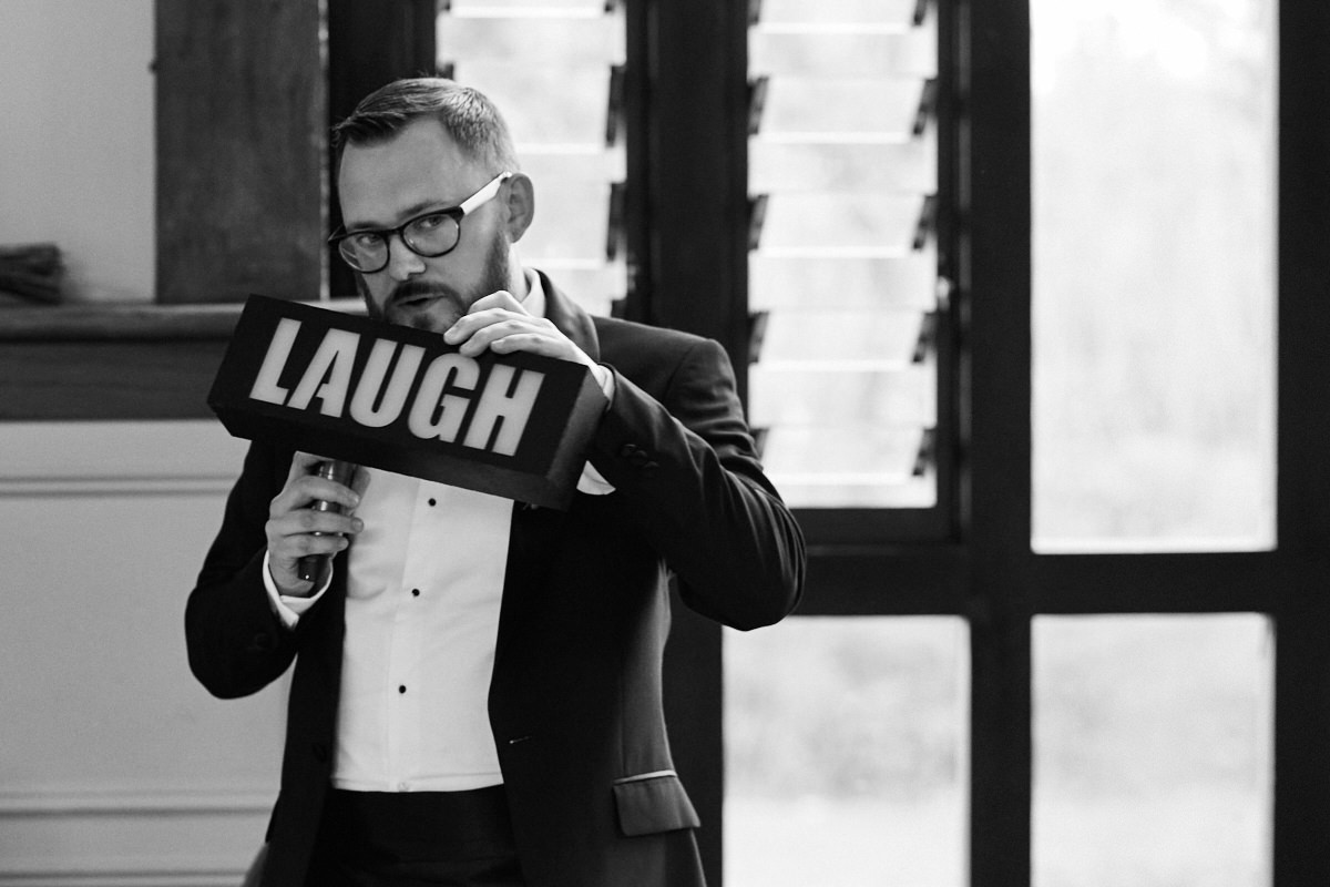 Funny wedding photo of a best man's speech