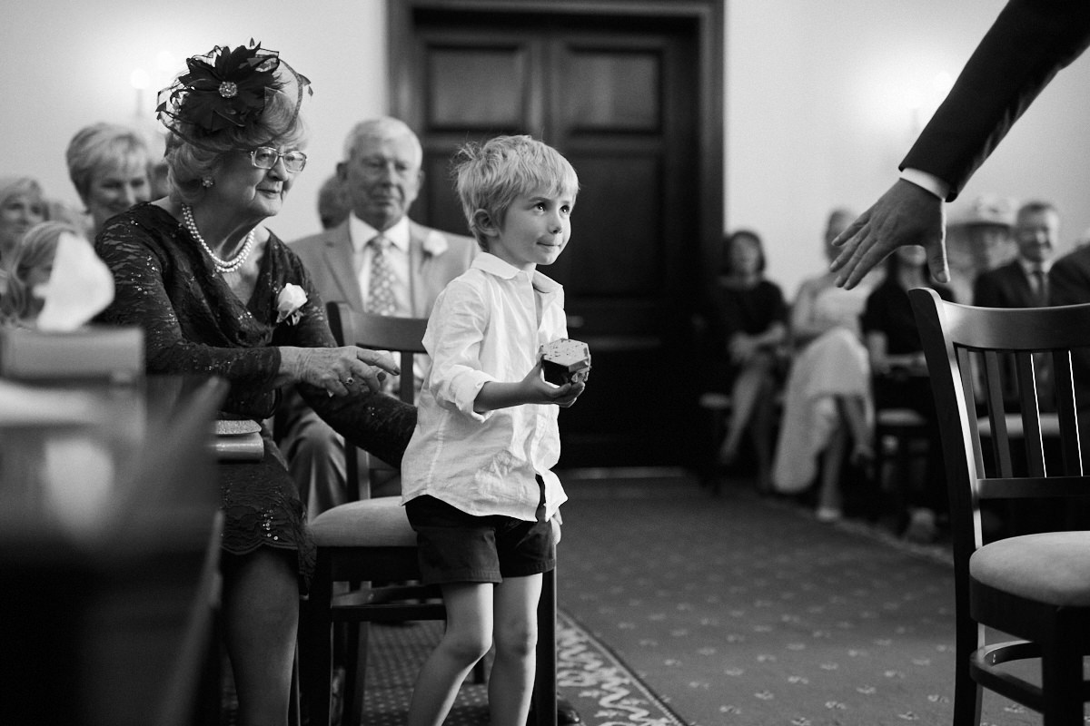 Funny wedding photo of a nervous ring bearer a Leatherhead wedding