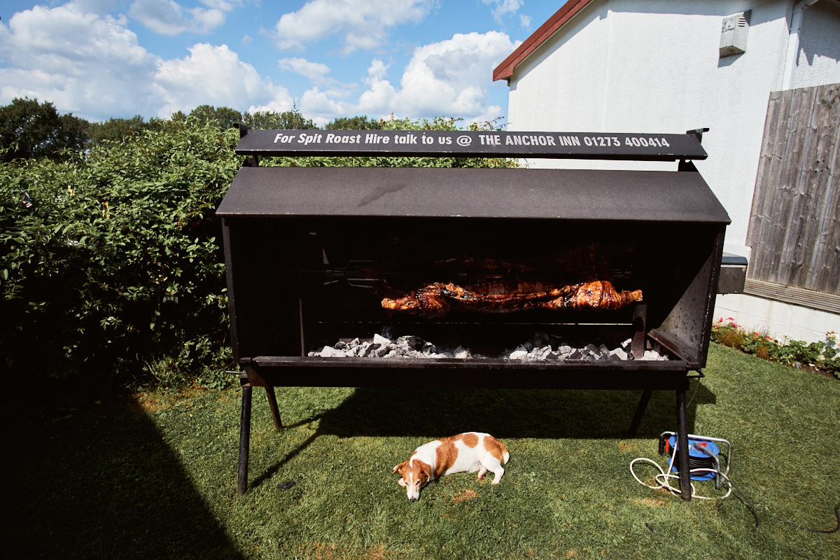 Funny wedding photo of a spit roast and a sleeping dog at the Anchor Inn