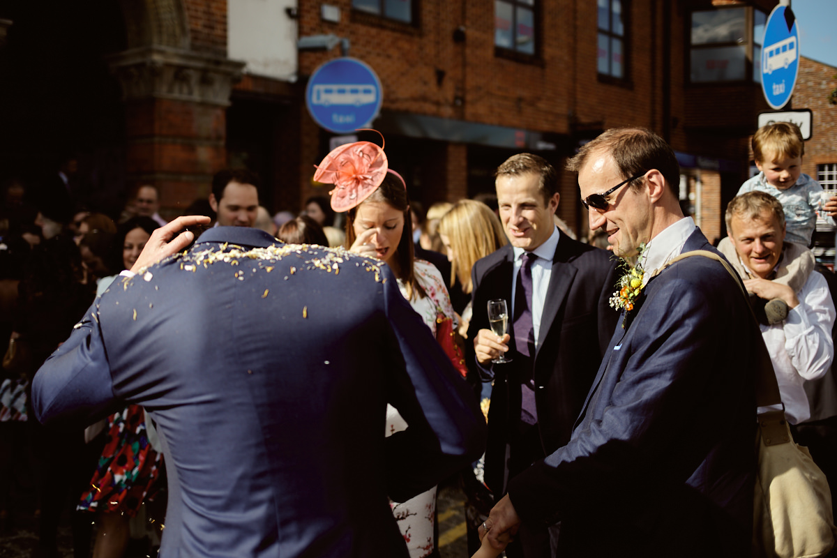 Funny wedding photo of a groom with no head in Hungerford Berkshire
