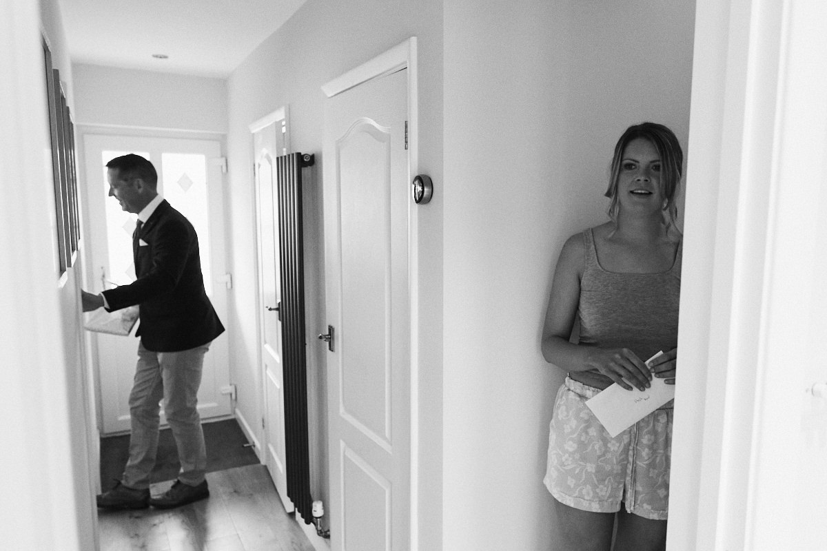 Bride hides from father before wedding at Great Barn in Rolvenden Kent