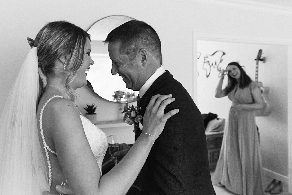 Emotional bride and father before Great Barn wedding Kent