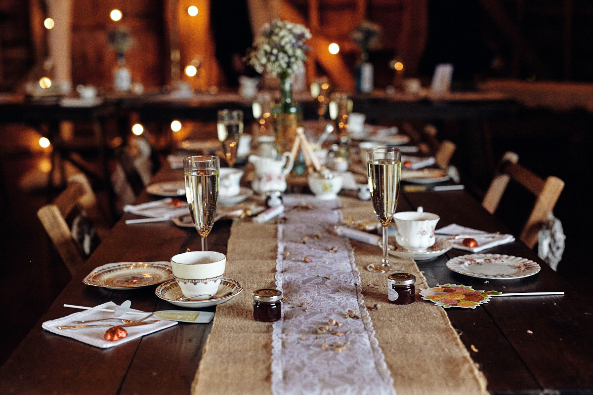 Beautiful table settings at wedding at Great Barn in Rolvenden Kent