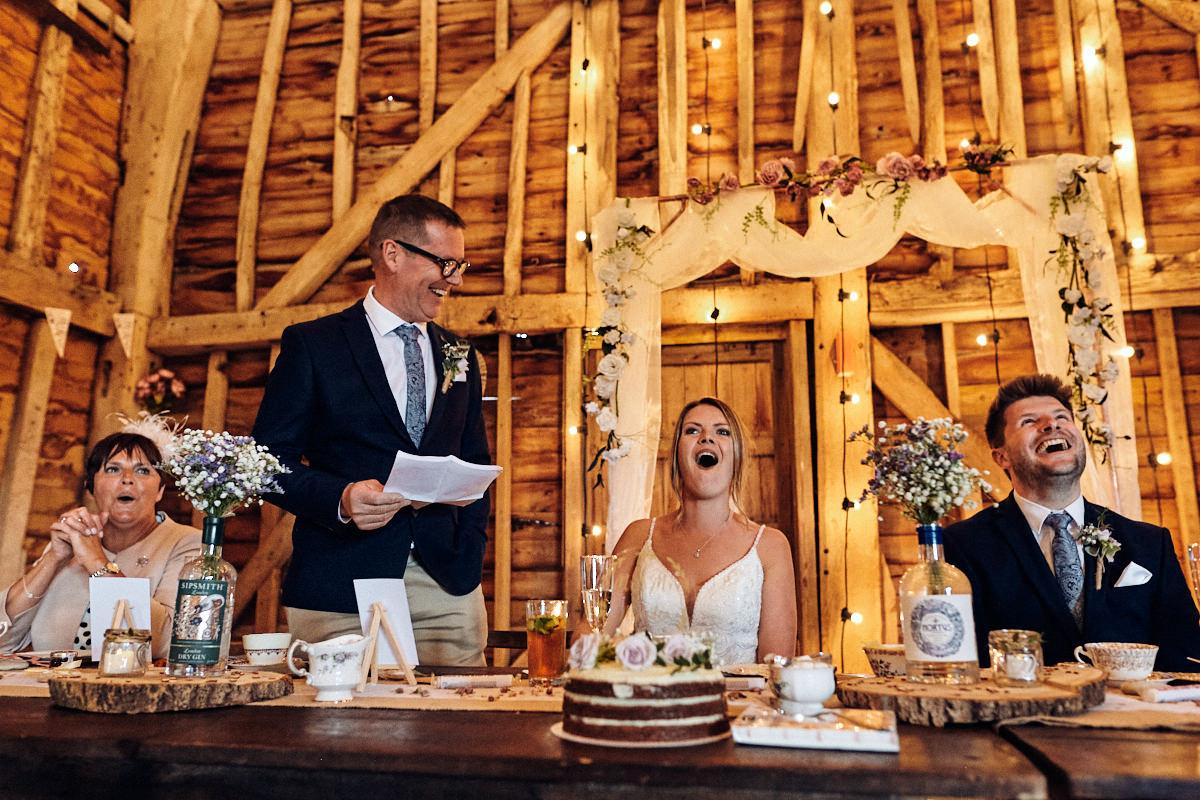 Funny speech at wedding at Great Barn in Rolvenden Kent