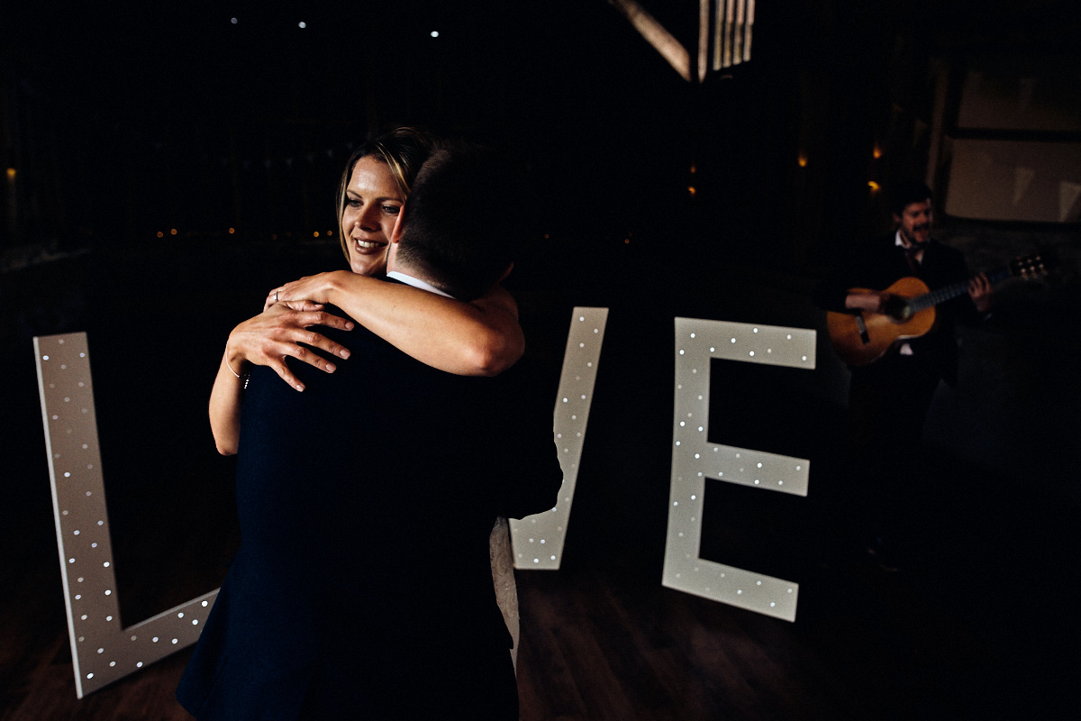 First dance at wedding at Great Barn in Rolvenden Kent