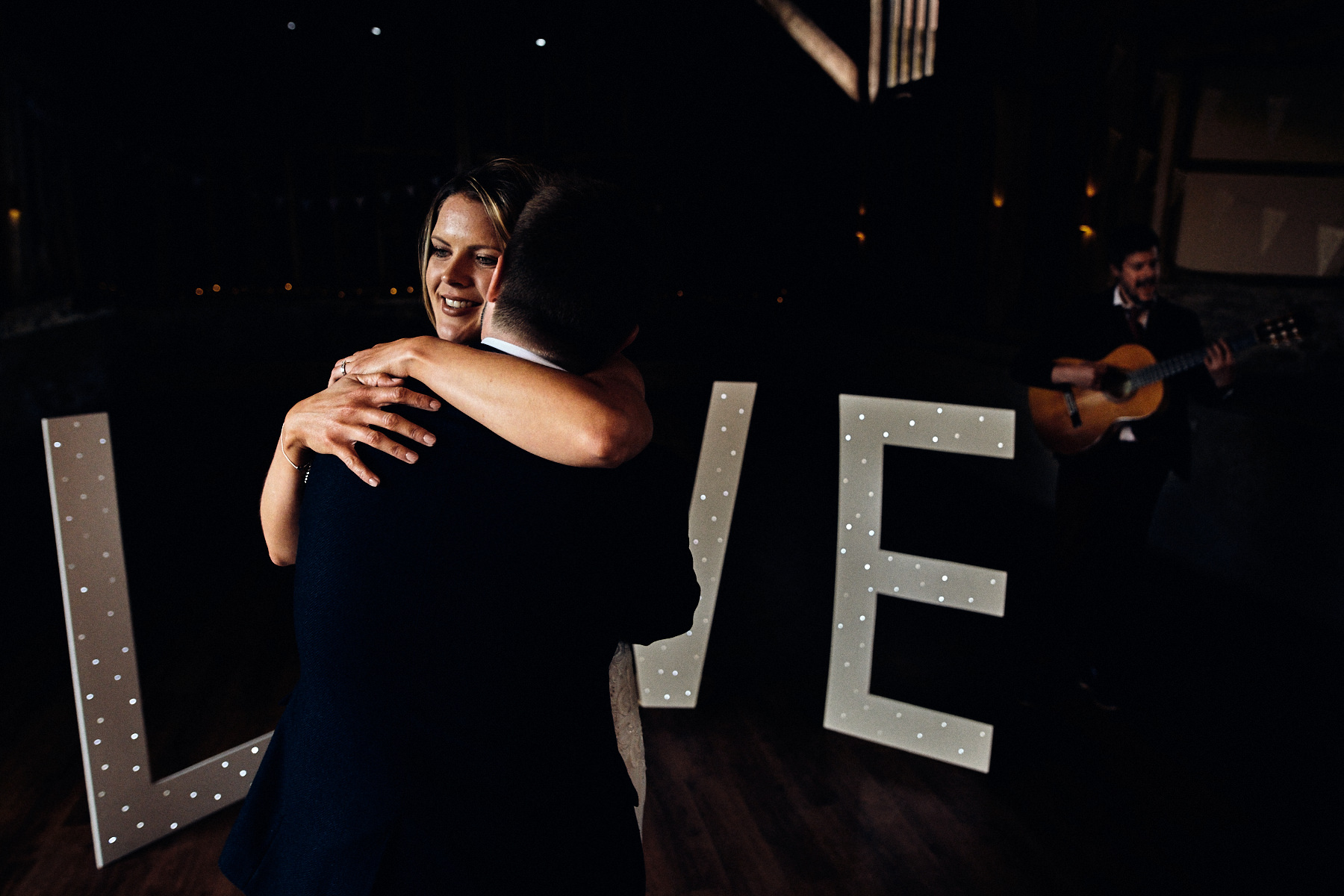 Bride and groom first dance at Great Barn wedding Rolvenden in Kent